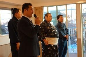 毎年恒例の豆まき!今年も立田川親方と現役のお相撲さん、呼び出しさんが来てくれました。